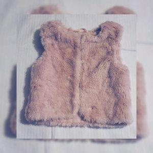 H&M Pink Fur Vest For Girls - 3-4Y